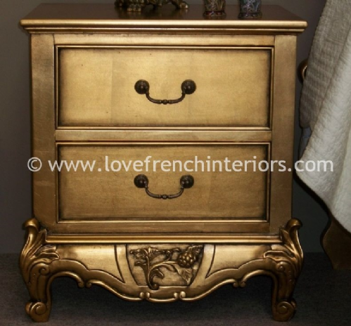 Louis Two Drawer Bedside in Gold